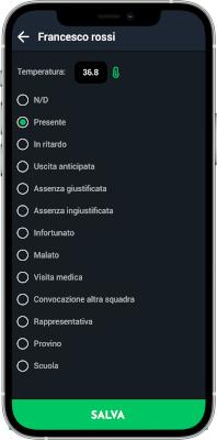 Presenze smartphone registro YouCoachApp Mobile